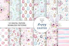 Watercolor Spring Easter Digital Paper, Seamless Pattern Product Image 1
