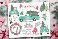 Vintage Blue Christmas Truck Clipart - Vector Clip Art & SVG Product Image 1