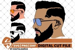 3x Man with Glasses svg, Face man svg, Hipster, Beard Man Product Image 1