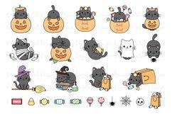 Halloween Cats Clipart set - 25 Cat images - Kawaii - Bundle Product Image 2