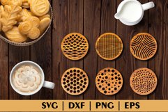 Bundle of Decorative Circle Coasters. Coaster SVG. Laser cut Product Image 6