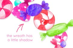 Candy wreath Colorful Watercolor Sweets clipart Product Image 2