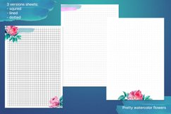Undated printable planner sheets with watercolor flower A5 Product Image 3