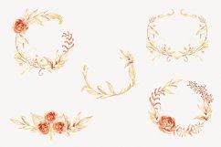 Watercolor Floral Wreaths Clip Art Gold Leaves Autumn Clipar Product Image 2