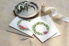 Christmas wreath, watercolor illustration, eucalyptus, roses Product Image 5