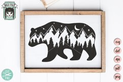 Bear SVG, Bear Silhouette SVG, Mountain Scene SVG Cut File Product Image 2