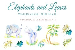 Elephants and Palm leaves watercolor clipart & BONUS pattern Product Image 2