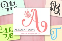 Albanian Olive Monogram   Font Trio Product Image 1