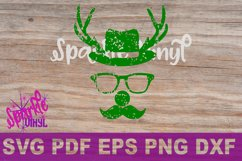 Svg Distressed Grunge Christmas vintage reindeer shirt svg files for cricut or silhouette, Reindeer with glasses red nose mustache hat svg printable Product Image 6