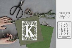 Floral frame letter K, single initial paper cut, wedding SVG Product Image 1