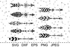 Set of arrows with feathers. Boho style. SVG cut files. DXF. Product Image 2
