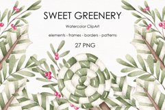 """Watercolor ClipArt """"Sweet greenery"""" Product Image 1"""
