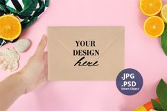 Envelope on Woman hand Summer mockup PSD, Summer Mockup PSD Product Image 1