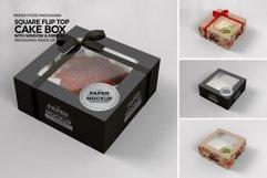 Square Flip Top Cake Box Packaging Mockup Product Image 5