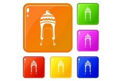 Winter hat icons set vector color Product Image 1