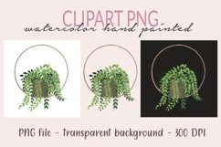 Plant in pot PNG Clipart, Plants Monogram, Watercolor PNG, Product Image 1