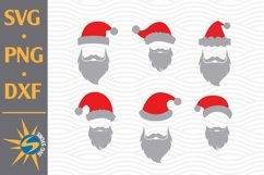 Santa Hat With Beard SVG, PNG, DXF Digital Files Include Product Image 1