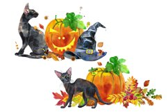 Halloween black cats and pumpkins Product Image 3