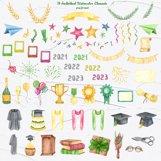 Graduation Watercolor Clipart Product Image 4