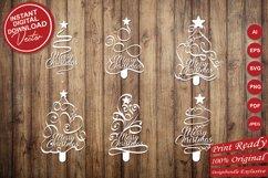 Papercut Merry Christmas Textual Tree Set Product Image 5