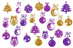 Christmas tree balls clipart,Gold christmas balls Product Image 2