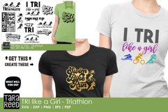 TRI like a Girl - Triathlon SVG and Cut Files for Crafters Product Image 2