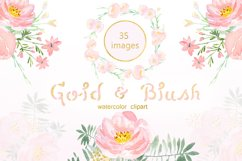 Gold & blush watercolor flowers Product Image 3