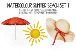 Watercolor Summer Beach Clip Art Set 1 Product Image 5