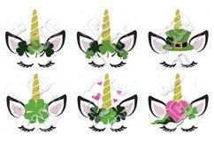 Unicorn Face Eyelash St. Patrick's Day SVG Product Image 1
