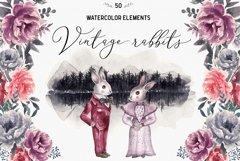 Spring Vintage Wedding Watercolor Rabbits Product Image 1