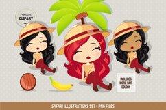 Travel clipart, Safari girl illustrations Product Image 2