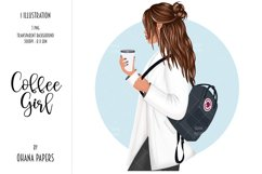 Coffee Girl Fashion Illustration, School Backpack Clipart Product Image 1