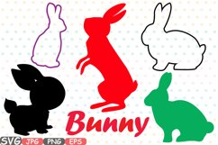 Easter bunny SVG shirt bunny ears outline frame 635S Product Image 1