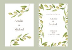 Watercolor green olives wreath and golden frames, wedding in Product Image 2