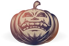 Vector Halloween Pumpkin Carved Eyes Mouth Icon Set Product Image 6
