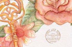 Watercolor wreaths set. Roses & keys Product Image 6