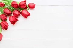 Bouquet of red tulips on white wooden background. Product Image 1
