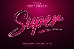 Super text, silver style editable text effect on pink canvas Product Image 1