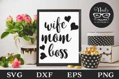 Wife Mom Boss SVG Cut File Product Image 1