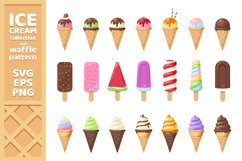 Tasty colorful ice cream and pattern SVG, EPS, PNG Product Image 1