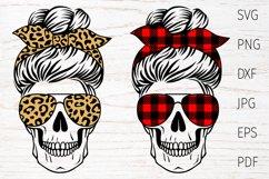 Skull mom life svg, messy bun, leopard, buffalo plaid Product Image 1