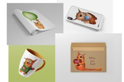 Set of watercolor cats Product Image 2