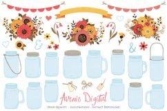 Fall Mason Jar Wedding Clipart - Autumn Wedding Graphics Product Image 1