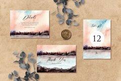Sunset Lake Watercolor Wedding Invitation Set Product Image 3