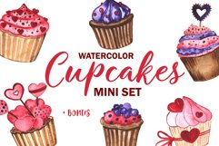 Cupcakes. Watercolor mini Set Product Image 1