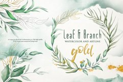 Watercolor & Gold Leaf Branch Product Image 1