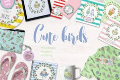 Cute birds, flowers, frames and lettering Product Image 1