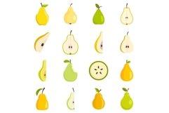 Pear icons set, flat style Product Image 1