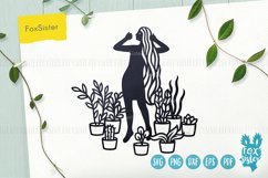 House Plants svg, Girl Vector Cut File, plants svg files Product Image 1