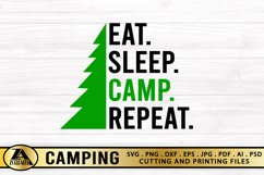 Camping SVG PNG EPS DXF Eat Sleep Camp Repeat SVG Camper SVG Product Image 5